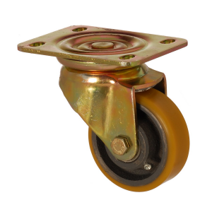 6102 DUR 100 | 100 mm Plated Covered by Polyurethane on Cast Iron Roller Bearings Swivel Caster