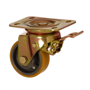 6102 DUR 200 F5 | 200 mm Plated Covered by Polyurethane on Cast Iron Roller Bearings Swivel Caster with Brake