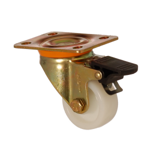 6102 PAB 055 F4 | 55 mm Plated Polyamide (PA6) Bushing Swivel Caster with Brake
