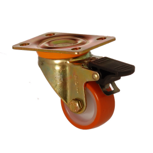 6102 PUB 055 F4 | 55 mm Plated Covered by Polyurethane on Polyamide (PA6) Bushing Swivel Caster with Brake