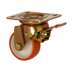 6102 PUB 125 F5 | 125 mm Plated Covered by Polyurethane on Polyamide (PA6) Bushing Swivel Caster with Brake