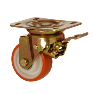 6102 PUR 200 F5 | 200 mm Plated Covered by Polyurethane on Polyamide (PA6) Roller Bearings Swivel Caster with Brake