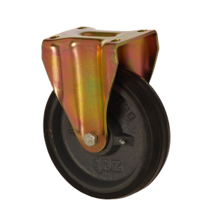 6105 DLR 200 | 200 mm Plated Covered by Rubber on Cast Iron Roller Bearings Fixed Caster