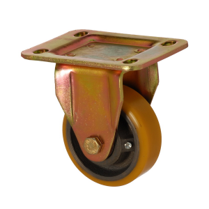 6105 DUR 100 | 100 mm Plated Covered by Polyurethane on Cast Iron Roller Bearings Fixed Caster